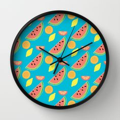 Fresh and Fruity Illustration Pattern Wall Clock