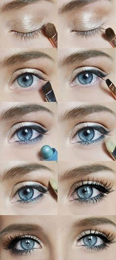 Simple everyday neutral eye makeup tutorial perfect for girls with blue eyes
