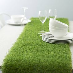artificial grass table runner by artificial landscapes | notonthehighstreet.com Fussball Em, Bath Table, Decoration Table, Dining Decor, Golf Table Decorations, Dinning Table, Easter Table, Easter Party, Easter Lunch