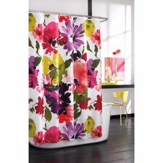 ANTHOLOGY Floral Watercolor FABRIC SHOWER CURTAIN ~ AVERY ~ Bold Flowers NEW #Anthology