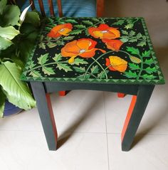 Furniture painted coffee tables Upscaled Poppies Table, Painted Furniture, Bohemian Hand Painted Side Table, Wooden End Table from India, Floral Coffee Table Floral Painted Furniture, Funky Furniture, Recycled Furniture, Paint Furniture, Furniture Makeover, Bohemian Furniture, Furniture Cleaning, Furniture Online, Furniture Stores