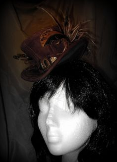 Brown embossed suede and striped fabric mini steampunk top hat . Top hat . Steampunk. Victorian