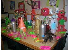 Solar System wrap-up. Students researched a planet, and then created an alien designed to survive on that particular planet.  They had to use a soda bottle of any size.