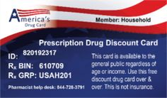 Americas Drug Card, Rx Saver Prescription Discount card, Pre-activated with No Expiration! Save Average of 55% on Prescriptions, just present card to your pharmacist when filling prescription. Website: www.AmericasDrugCard.org/u317