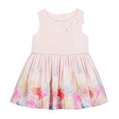 Baby girls' light pink floral bow dress