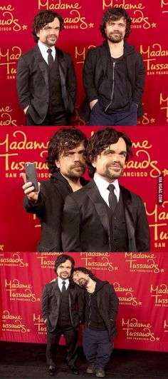 Peter Dinklage with his wax figure يا ملحه ❤️❤️
