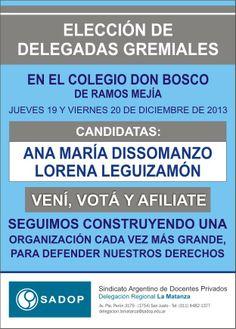 ELECCIÓN DE DELEGADAS EN EL COLEGIO DON BOSCO DE RAMOS MEJÍA