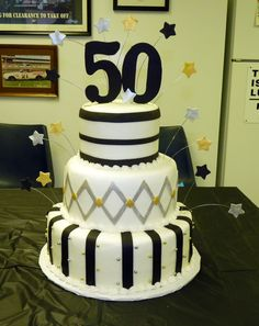 Black, Silver And Gold 50Th Birthday on Cake Central