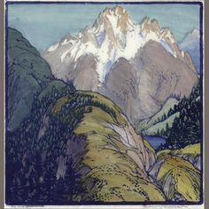 Frances Hammell Gearhart (1869-1958) On and Up, 1937 Woodcut in colors on…