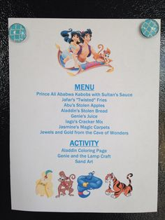Aladdin Menu - Aladdin Movie Night - Disney Movie Night - Family Movie Night