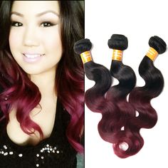 "2014 Indian Unprocessed Ombre Human Hair 10""-30"" Body wave 1B BURG# Hot sell 50g #wigiss #HairExtension"