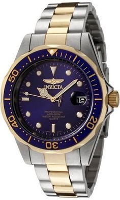 For my guy... Invicta Mens Watch Two Tone Stainless Steel Pro Diver Blue Dial Quartz