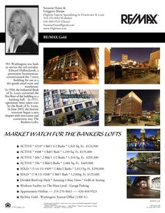 The Bankers Lofts Market Watch As of September 2nd, 2015....Call Suzanne Hunn @ 314-276-4663....Let Our Team Show **YOU** The Bankers Lofts...!!!! There are only 4 lofts available to tour....