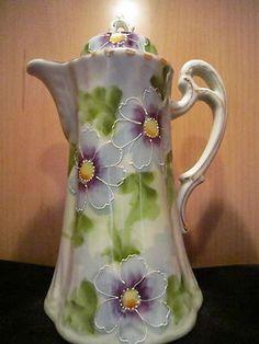 Perfect Antique Nippon Porcelain Chocolate Pot Happy Flowers