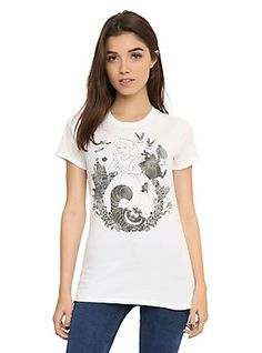 Disney Alice In Wonderland Ink Wash Girls T-Shirt, WHITE