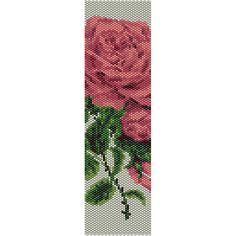 Pink Rose 2 Peyote Bead Pattern, Bracelet Cuff, Bookmark, Seed Beading Pattern Miyuki Delica Size 11 Beads - PDF Instant Download by SmartArtsSupply on Etsy