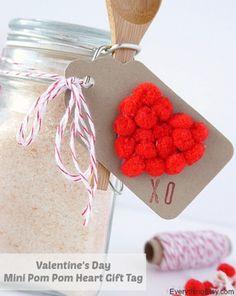 Valentine's Day Mini Pom Pom Heart Gift Tag - EverythingEtsy.com #diy