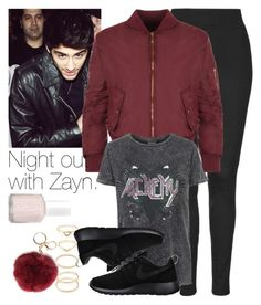 """""""Night out with Zayn."""" by welove1 ❤ liked on Polyvore featuring Topshop, WearAll, Forever 21, NIKE and Essie"""