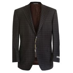 CANALI $1,395 fully canvased brown black plaid wool blazer jacket 46/56 7R NEW #Canali #TwoButton