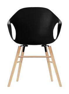 Fauteuil Elephant Wood / Coque plastique & pieds bois 480 € existe en blanc