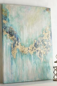 """This Teal Visions Abstract Art from Pier 1 puts the """"statement"""" in statement piece. With its handsome pine frame and eye-catching abstract design, our wall art is destined to be the centerpiece of any room in your home."""