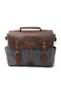 Buy Mens Canvas Messenger Bag Leather Laptop Bag Briefcase School Bookbag (Dark Gray) - Dark Gray - and More Fashion Bags at Affordable Prices. Mens Canvas Messenger Bag, Vintage Messenger Bag, Laptop Messenger Bags, Leather Laptop Bag, Leather Briefcase, Leather Satchel, Mens Satchel, Looks Vintage, Style Vintage