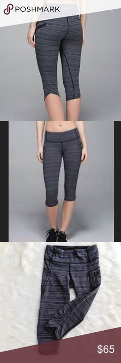 Lululemon Speed Crop in Cyber Stripe Lululemon Speed Crop in Cyber Stripe. Great condition save for a little rolling of hem...from normal washing. Side zip pocket, 2 hidden pockets, hidden drawstring. Size 4. NO OFFERS🚫LOWEST LISTED🚫BUY IT NOW OPTION ONLY 🚫I ONLY TRADE FOR CASH 💰 lululemon athletica Pants Ankle & Cropped