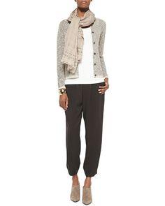 -5K30 Eileen Fisher Malibu Linen Snap Jacket, Airy Grid-Striped Linen/Wool Scarf & Slouchy Silk Ankle Pants