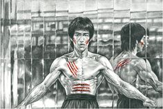 Bruce Lee- Mirrors room by on DeviantArt Bruce Lee Movies, Bruce Lee Art, Bruce Lee Pictures, Angel Sketch, Drawing Poses Male, Brandon Lee, Enter The Dragon, Martial Artists, Islamic Art Calligraphy