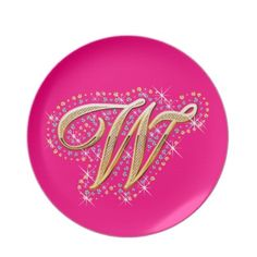 Gold & Diamonds - Elegant and Pink Plate with Your Initial ''W''.