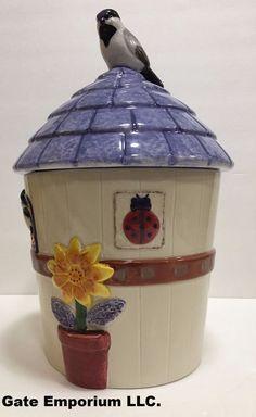 "Studio Nova Summertime  Beautiful Multi-Color Table Cookie Jar 13"" H x 10.5 "" W #StudioNova"