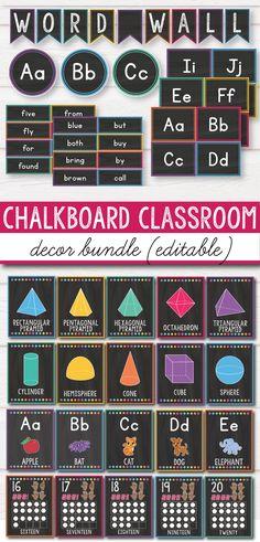 Bright Chalkboard Classroom Decor Bundle - a fun and colorful classroom organization set for primary Classroom Decor Themes, Classroom Jobs, Middle School Classroom, Classroom Design, Kindergarten Classroom, Classroom Organization, Castle Classroom, Classroom Labels, Classroom Setup