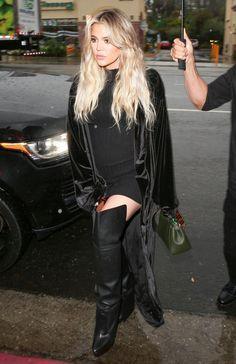 Khloe Kardashian in her Naked Wardrobe Ribbed Mini Dress