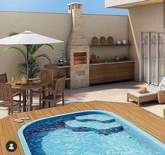 Pin on Patio Backyard Pool Designs, Small Backyard Pools, Small Pools, Swimming Pools Backyard, Terrasse Design, Rooftop Design, Small Pool Design, Design Jardin, Home Deco