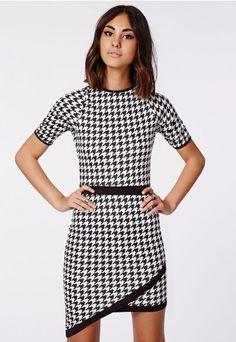 Ailish Contrast Binding Asymmetric Bodycon Dress Dogtooth Print - Dresses - Bodycon Dresses - Missguided