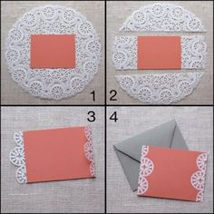 Paper Doily Crafts, Doilies Crafts, Paper Doilies, Wedding Invitation Cards, Wedding Cards, Fancy Envelopes, Diy And Crafts, Crafts For Kids, Baby Girl Scrapbook