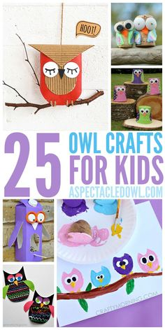25 Owl Crafts for Kids - Whoooo doesn't love owls? These fun owl crafts are perfect for you & your kids to create together! Bird Crafts, Animal Crafts, Crafts To Do, Easy Crafts, Crafts For Kids, Paper Crafts, Craft Activities For Kids, Preschool Crafts, Projects For Kids