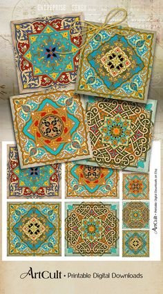 Oriental Images MOROCCAN ORNAMENTS 3.8x3.8 inch by ArtCult on Etsy