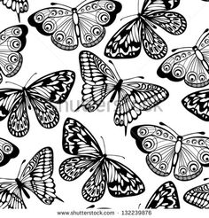 Beautiful seamless background of butterflies black and white colors. Many similarities to the author's profile