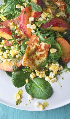Peach Sweet Corn and Halloumi Salad with Lemon-Basil Vinaigrette