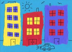 Art Projects for Kids | Teacher-tested Art Projects. This collage, for instance, can give students practice in cutting and tearing, and also apply math standards of making rows and columns for the windows.