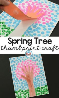Spring Fingerprint Tree is a simple art project for kids! If you love cherry blossom crafts or season craft, this is perfect for your kindergarten classroom! Use your art materials for this simple craft for kids. Spring crafts are easy to set up and great for learning about changing of the seasons. #craft #springcraft #thumbprint #fingerprint via @dabofgluewilldo
