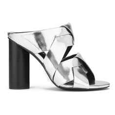 Senso Women's Xanthe II Chrome Strappy Mule Sandals ($215) ❤ liked on Polyvore featuring shoes, sandals, heels, silver, black heel sandals, strappy sandals, silver platform sandals, high heel mules and strappy heel sandals