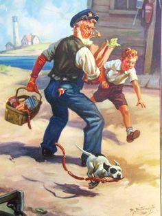 ORIGINAL Hy Hintermeister CALENDAR sample DOW Litho GRANDPA boy DOG grocery bag