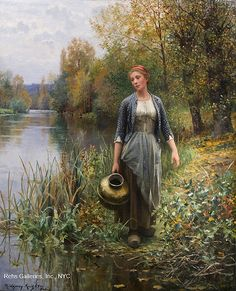Marie - At the Water's Edge (Girl with Copper Jug) by Daniel Ridgway Knight - 32 x 26 inches Signed and inscribed Paris french american genre expatriate figure figurative peasant Old Paintings, Beautiful Paintings, Landscape Paintings, Mode Poster, Knight Art, Fine Art, American Artists, Oeuvre D'art, Painting & Drawing