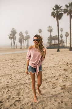 Hello Fashion. Blush off the shoulder knot blouse+denim shorts+aviator sunglasses. Spring Casual Outfit 2017