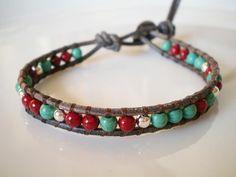Single Leather Wrap Bracelet Southwestern colors