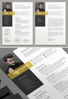 Professional CV / Resume Templates with Cover Letters Best Resume Template, Resume Design Template, Creative Resume Templates, Design Resume, Resume Ideas, Resume Tips, Psd Templates, Free Resume, Cover Letter Design