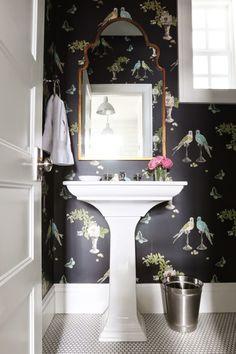 D e c o r a r e : A clean design: Studio McGee Osborne & Little birds wallpaper powder room