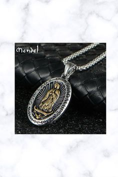 Stainless Steel Catholic Our Lady Of Guadalupe Gold Pendant Necklace Gold Pendant Necklace, Men Necklace, Hip Hop Movies, Fantasy Jewelry, Our Lady, Pocket Watch, Handmade Items, Stainless Steel